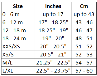 Infants Toddlers And Kids Sizing